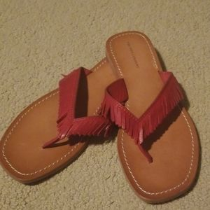 FRYE WOMENS RED LEATHER THONGS FLIP FLOPS SANDALS